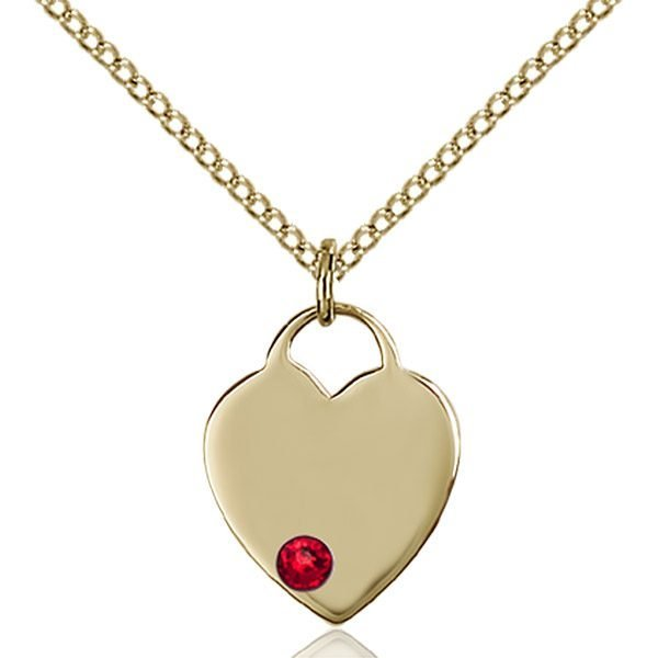 Heart Pendant - July Birthstone - Gold Filled #88747