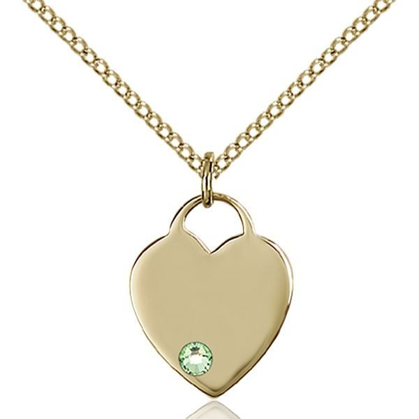 Heart Pendant - August Birthstone - Gold Filled #88748