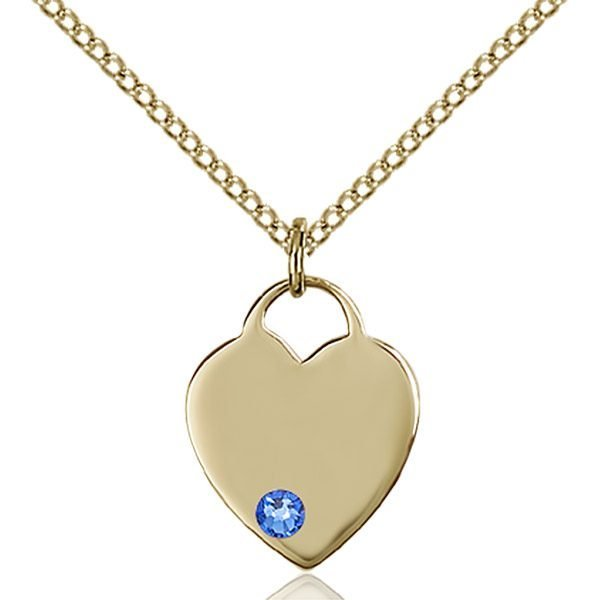 Heart Pendant - September Birthstone - Gold Filled #88749
