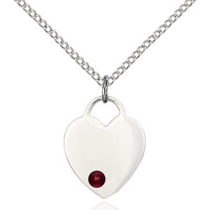 Heart Pendant - January Birthstone - Sterling Silver #88764