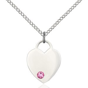Heart Pendant - October Birthstone - Sterling Silver #88765
