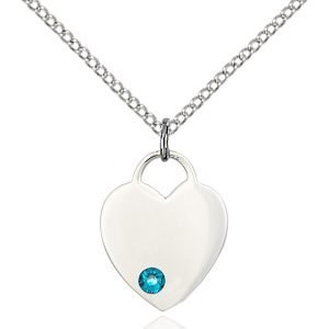 Heart Pendant - December Birthstone - Sterling Silver #88767