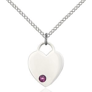 Heart Pendant - February Birthstone - Sterling Silver #88768