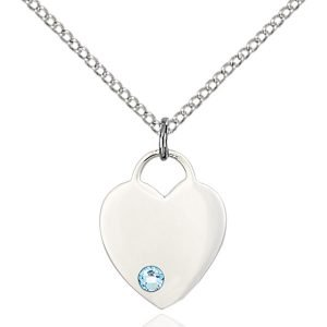 Heart Pendant - March Birthstone - Sterling Silver #88769