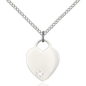 Heart Pendant - April Birthstone - Sterling Silver #88770