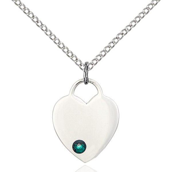 Heart Pendant - May Birthstone - Sterling Silver #88771