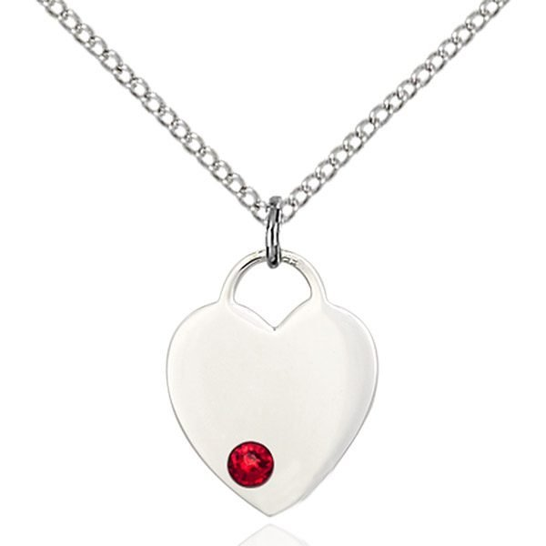 Heart Pendant - July Birthstone - Sterling Silver #88773