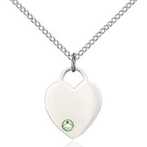Heart Pendant - August Birthstone - Sterling Silver #88774