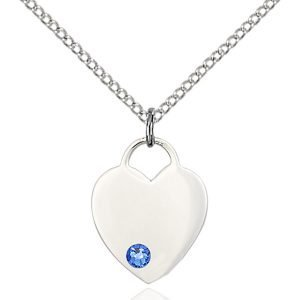 Heart Pendant - September Birthstone - Sterling Silver #88775