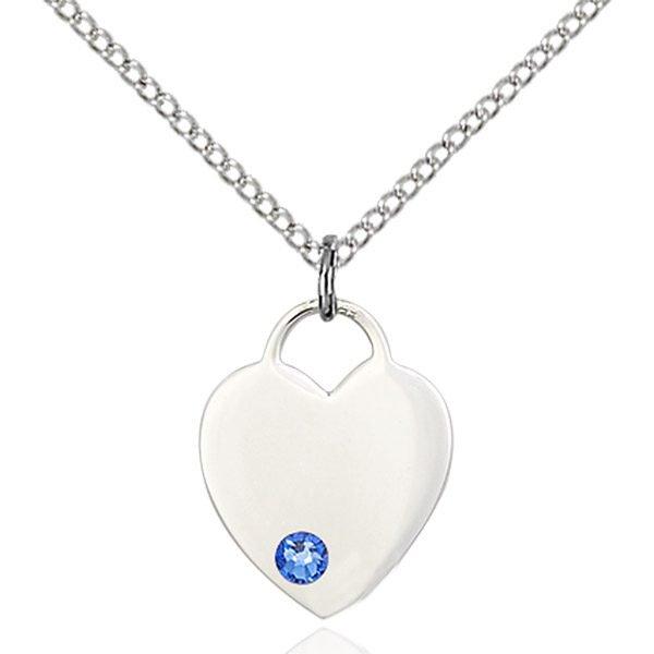 Heart Pendant - September Birthstone - Sterling Silver #88775