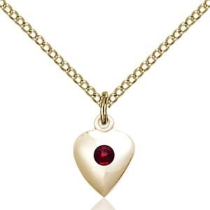 Heart Pendant - January Birthstone - Gold Filled #88789