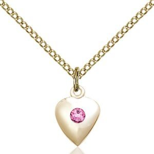 Heart Pendant - October Birthstone - Gold Filled #88790