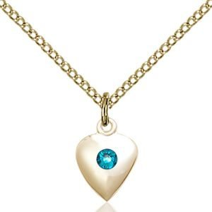 Heart Pendant - December Birthstone - Gold Filled #88792