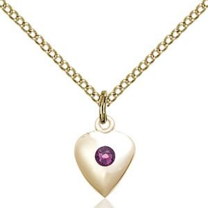 Heart Pendant - February Birthstone - Gold Filled #88793