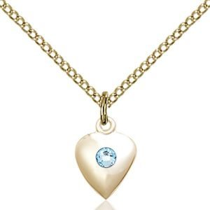 Heart Pendant - March Birthstone - Gold Filled #88794