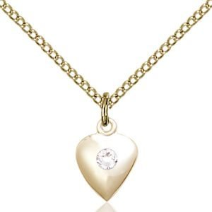 Heart Pendant - April Birthstone - Gold Filled #88795
