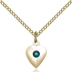 Heart Pendant - May Birthstone - Gold Filled #88796