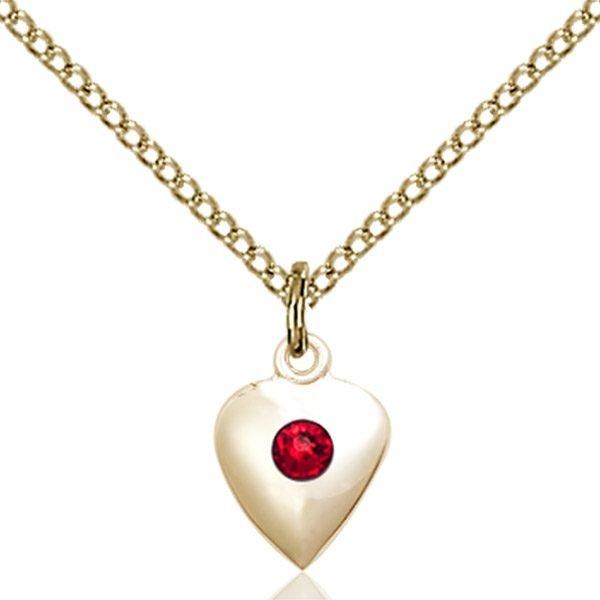Heart Pendant - July Birthstone - Gold Filled #88798