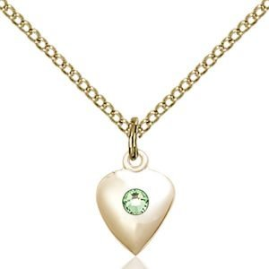Heart Pendant - August Birthstone - Gold Filled #88799