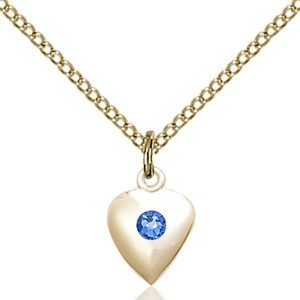 Heart Pendant - September Birthstone - Gold Filled #88800