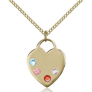Heart Pendant - Multi-Colored Birthstone - Gold Filled #88636