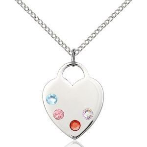 Heart Pendant - Multi-Colored Birthstone - Sterling Silver #88662