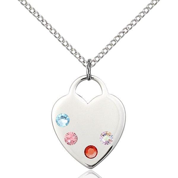 Heart Pendant - Multi-Colored Birthstone - Sterling Silver #88662