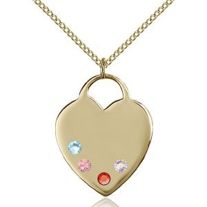 Heart Pendant - Multi-Colored Birthstone - Gold Filled #88711