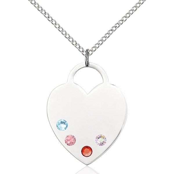Heart Pendant - Multi-Colored Birthstone - Sterling Silver #88737