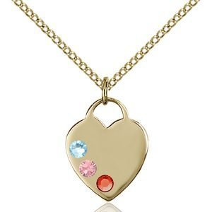 Heart Pendant - Multi-Colored Birthstone - Gold Filled #88750