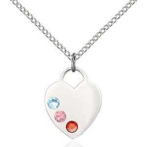 Heart Pendant - Multi-Colored Birthstone - Sterling Silver #88776