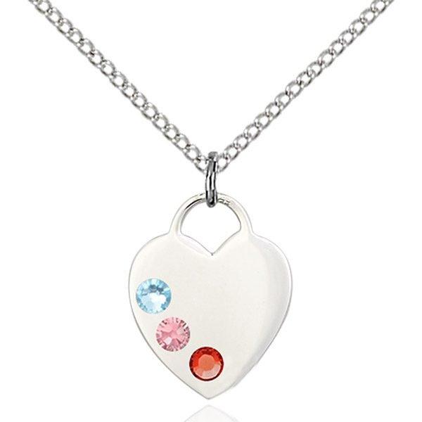 Heart Pendant - Multi-Colored Birthstone - Sterling Silver #88776