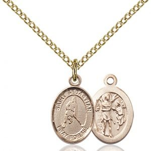 Gold Filled St. Sebastian/Ice Hockey Pendant
