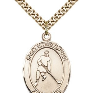 Gold Filled St. Christopher/Ice Hockey Pendant