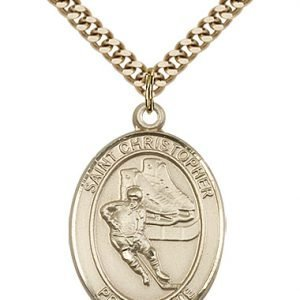 Gold Filled St. Christopher/Hockey Pendant