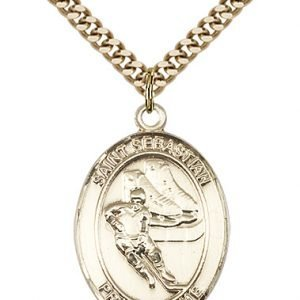 Gold Filled St. Sebastian / Hockey Pendant