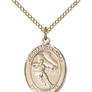 Gold Filled Guardian Angel/Hockey Pendant