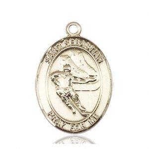 14kt Gold St. Sebastian / Hockey Medal