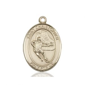 14kt Gold St. Christopher/Hockey Medal