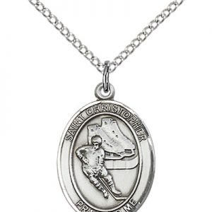 Sterling Silver St. Christopher/Hockey Pendant