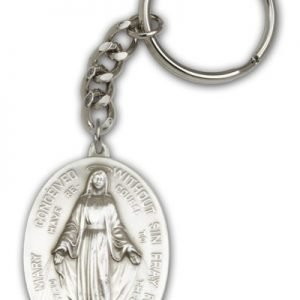 Antique Silver Immaculate Conception Keychain