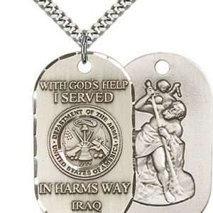 Sterling Silver Iraq - Army Pendant
