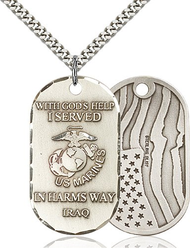 Sterling Silver Marines Iraq Pendant