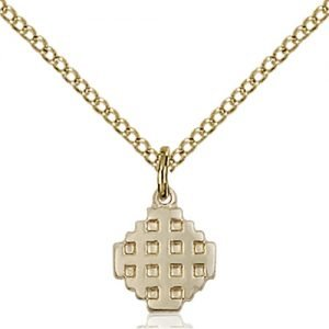 Gold Filled Jerusalem Cross Necklace #87581