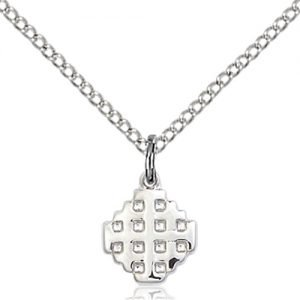 Sterling Silver Jerusalem Cross Necklace #87584