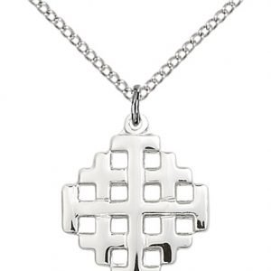 Sterling Silver Jerusalem Cross Necklace #87604