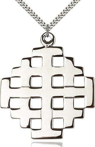 Sterling Silver Jerusalem Cross Necklace #87703