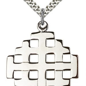 Sterling Silver Jerusalem Cross Necklace #87707