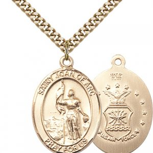 14kt Gold Filled St. Joan Of Arc - Air Force Pendant