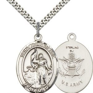 Sterling Silver St. Joan of Arc - Army Pendant